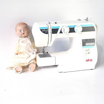 Elna Elina 21 Sewing Machine, and Doll with Porcelain Extremities
