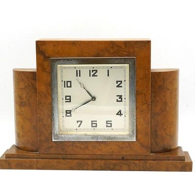 Art Deco Burr Walnut Veneer Mantle Clock