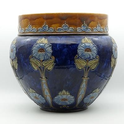 Large Royal Doulton Glazed Stoneware Jardiniere, Early 20th Century
