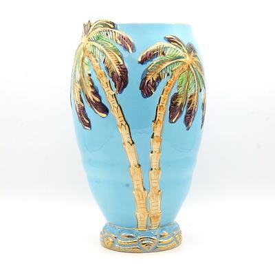Vintage Beswick Blue Palm Tree Vase