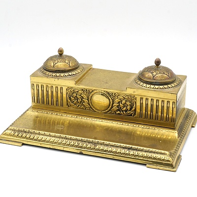 Vintage Brass Desk Tidy with Two Glass Inkwells