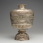 Burmese Roupousse Silver Alloy Compartmentalized Footed Box