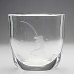 Heavy Orrefors Crystal Vase with Etched Woman Playing a Harp, P 2933