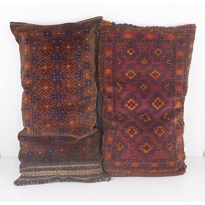 Two Hand Woven Afghan Full Wool Pile Saddle Bag Cushions