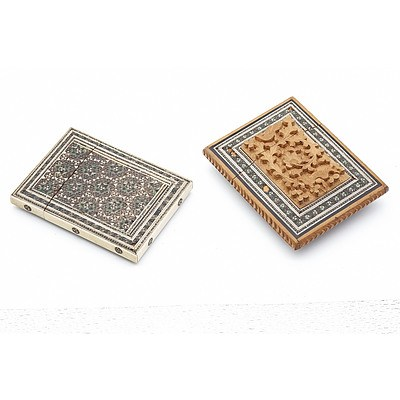 Two Persian Bone and Sadeli Inlaid Card Cases, 19th Century