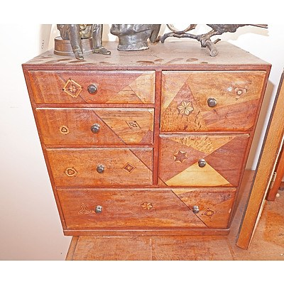 Japanese Export Marquetry Inlaid Trinket Chest of Small Proportions, Circa 1900