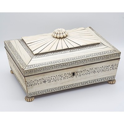 Impressive Anglo Indian Vizagapatam Ivory Embellished Sewing Box, Early to Mid 19th Century