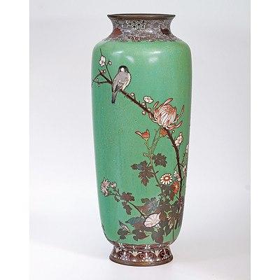 Impressive Japanese Cloisonne Enamel Vase, Meiji Period (1868-1912)