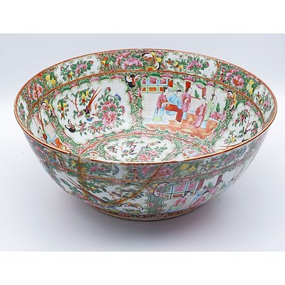 Chinese Export Famille Rose Punch Bowl, Late 19th Century