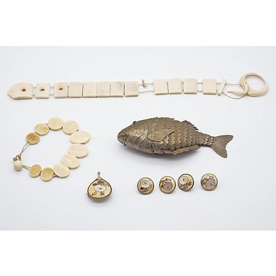 Asian Ivory Bracelets, Articulated Metal Fish Box and Japanese Shibayama Inlaid Ivory Button and Brooch