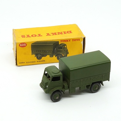 Vintage English Dinky Toys 623 Army Covered Wagon in Original Box