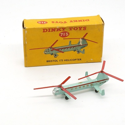 Vintage English Dinky Toys 715 Bristol 173 Helicopter in Original Box