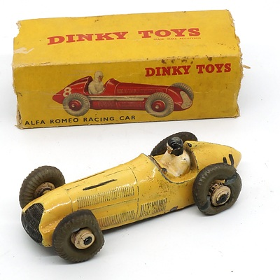 Vintage English Dinky Toys Alfa Romeo Racing Car with Original Box
