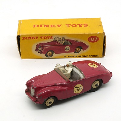 Vintage English Dinky Toys 107 Sunbeam Alpine Sports in Original Box