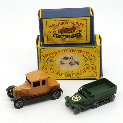 Vintage Lesney Matchbox Series No 49 and a Models of Yesteryear No 8 with Original Boxes