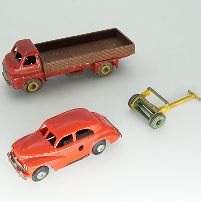 Vintage Dinky Toys Big Bedford, Triang Sedan and a Dinky Toys Push Lawn Mower