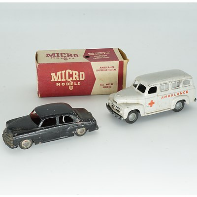 Vintage Micro Model International Ambulance with Original Box and Vauxhall Velox