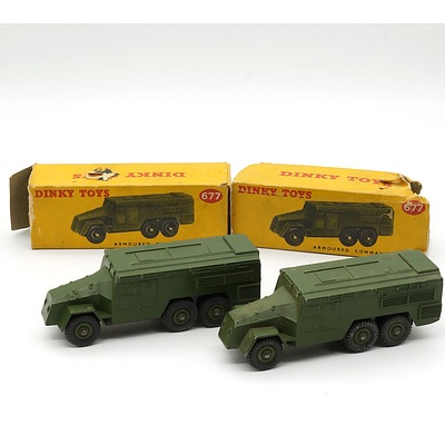 Two Vintage English Dinky Toys 677 Armoured Command Vehicle with Original Boxes