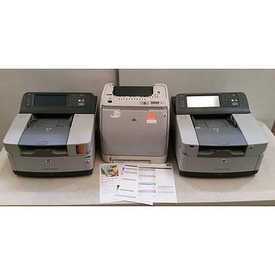HP LaserJet 2600n Colour Laser Printer and 2 HP Digital Senders 9250c's