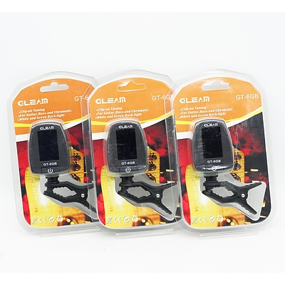 Lot of Three Gleam GT-6GB Guitar, Bass and Chromatic Tuner - Brand New