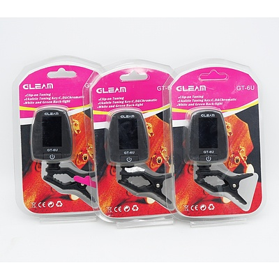 Lot of Three Gleam GT-6U Ukulele Tuner - Brand New
