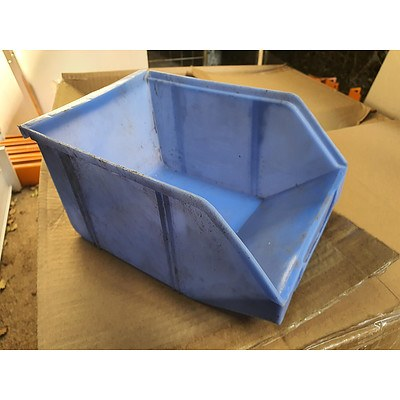 Two Boxes of Blue Plastic Storage Bins