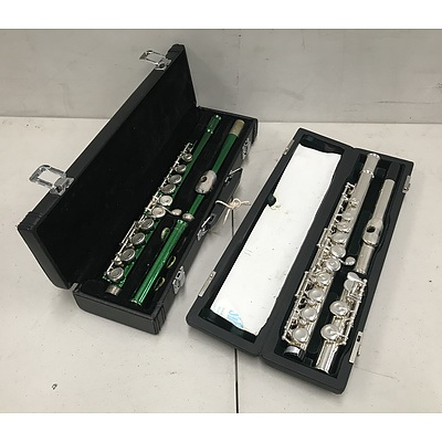 Two Flutes with Travel Cases Including Green Masterpiece Entertainer and PF-505 Pearl Flute