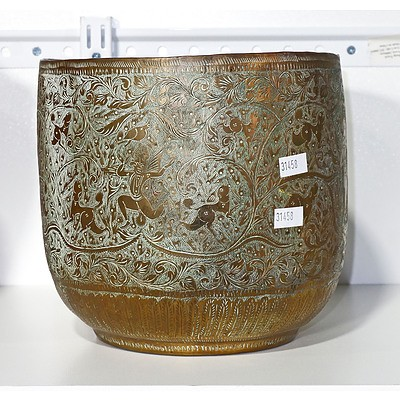 Indo Persian Hand Wrought And Chased Brass Jardiniere