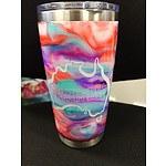 Customised travel mug with #SLABSFORHEROES logo I