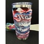 Customised travel mug with #SLABSFORHEROES logo II
