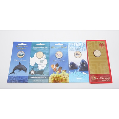 Five RAM Uncirculated One Dollar Coins, Including 2015 Year of the Goat, 2007 International Polar Year, 2013 Walrus and More