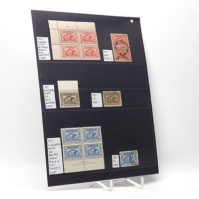 1931 Kingsford Smith 2d Block of Four Stamps, 1931 Kingsford Smith 3d Block of Four Stamps and More