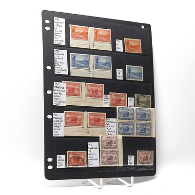 1934 Centenary of Victoria 3d Block of Two Stamps, 1934 Captain John Macarthur 2d Block of Two Stamps and More