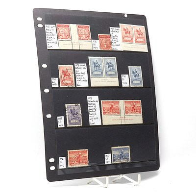 1935 ANZAC Commemoration 2d Block of Stamps, 1936 Tasmanian Telephone Cable 2d Block of Stamps and More