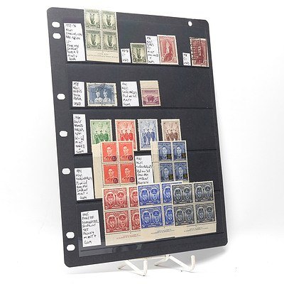 1940 Australian Armed Forces Stamp Set, 1941 King George VI Surcharges Block of Four Stamps and More