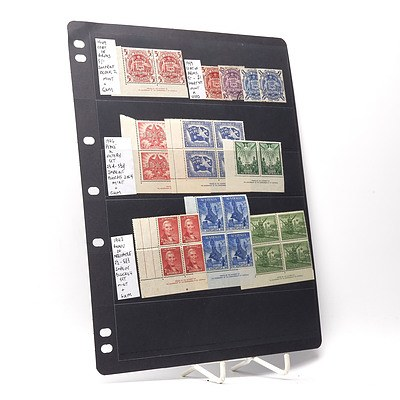 1949 Coat of Arms 5/- Block of Two Stamps, 1946 Peace and Victory Stamp Set and More