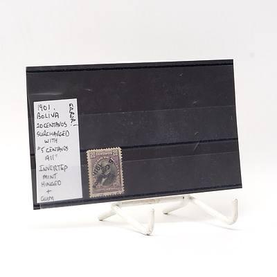 Error 1901 Bolivia Twenty Centavos Surcharged with '5 Centavos 1911' Inverted Stamp, Hinged and Gum