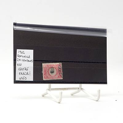 1902 Dominica Twenty Centanos Off Centre Error Stamp, Used