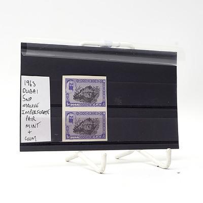 1963 Dubai 5np Mauve Imperfurate Pair of Stamps, Gum