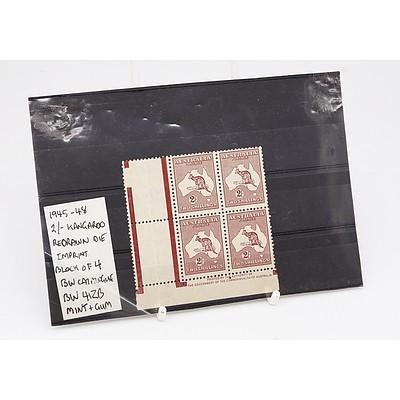 Block of Four 1945-48 2/- Two Shillings Kangaroo Redrawn Die Imprint BW Catalogue BW 41ZB