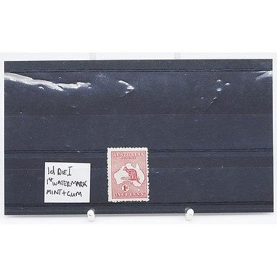 Single 1D Die I 1st Watermark One Penny Stamp