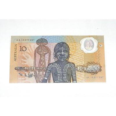 1988 Australian Polymer Bicentennial Commemorative $10 Note, AA10077287