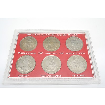 1900-1980 HM Queen Elizabeth II 80th Birthday Celebration of The Queen Mother Set of 6 Uncirculated Large Crown Coins