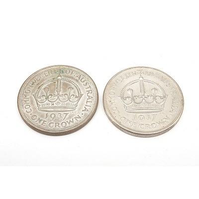 Two Australian 1937 Silver Crowns