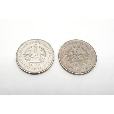 Two Australian 1937 Silver Crowns