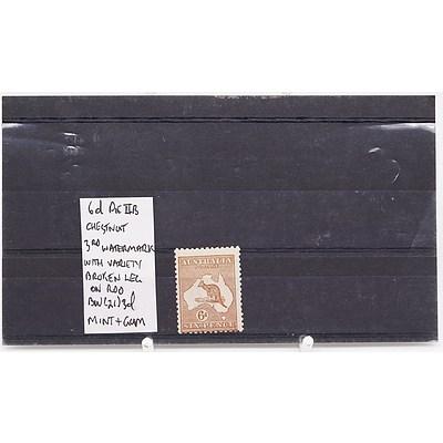 Single 6d Die IIB Chestnut 3rd Watermark with Variety Broken Leg on Kangaroo BW (21) 3d Stamp