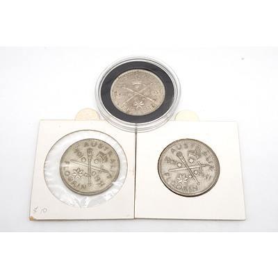Three 1951 Australian Federation Jubilee Silver Florins