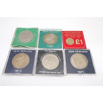 Group of Six Proof Coins, Including 1980 New Zealand One Dollar, 1977 H.M. Queen Elizabeth II Silver Jubilee Coin and More