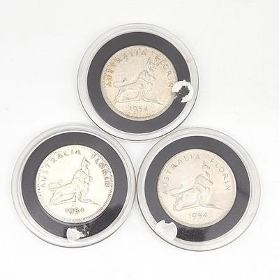 Three Australia 1954 Royal Visit Silver Florins