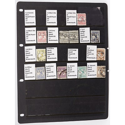 Sheet with Eleven Small Puncture OS 1rd Watermark Stamps